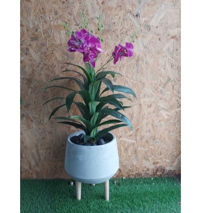 כד בטון אפור בינוני כולל צמחיה
